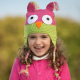 juDanzy Owl Hat Hot Pink & Green