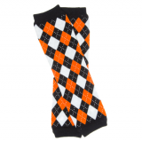 Leg Warmers Orange & Black Argyle
